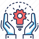 bulb, gear, hands, solution icon