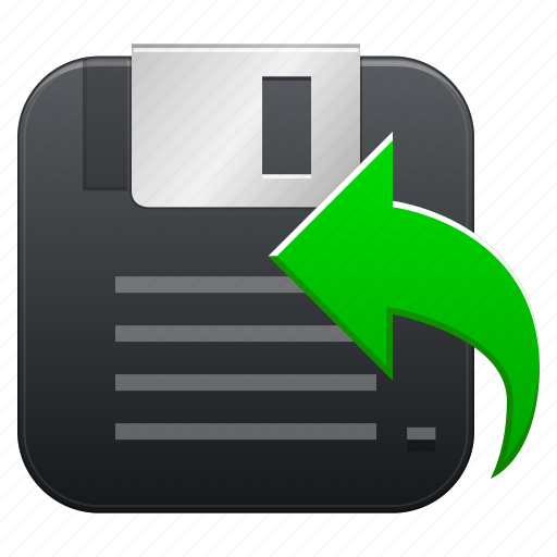 arrow, back, backup, copy, disk, diskette, drive, flash, floppy, guardar, left, memory, navigation, previous, save, software, storage, store icon