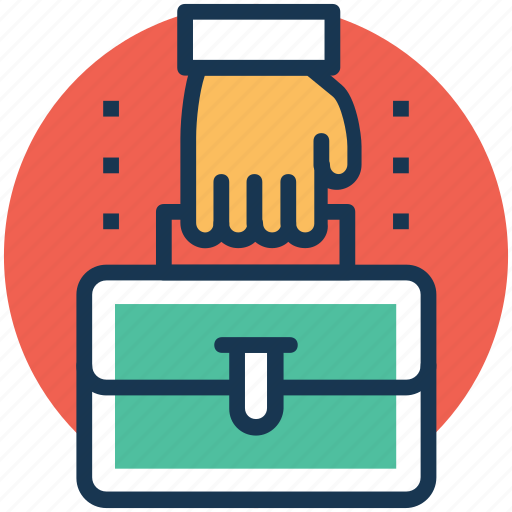 briefcase in hand, efficient work, intelligent work, office bag, smartwork icon