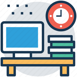 office desk, self employed, work desk, workplace, workstation icon