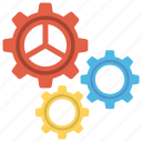 cogwheel set, gear and cog, gear mechanism, production, setting icon