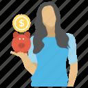 coin depositing, investment concept, money collection, piggy bank, saving icon