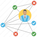 business connection, business network, office branches, success and failure, work location icon