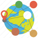 global business, global communication, global locationing, global network, worldwide connection icon