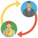 boss and employee, business connection, business relation, project management, staff relation icon