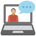 communication, live chat, online conversation, talking boy, video chat icon