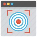 focus, goal achievement, monitoring, snipper point, website target icon