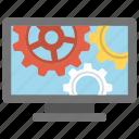 cogwheel, computer screen, computer technology, production, screensaver icon