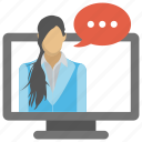 computer chat, online chating, social media conversation, web chat, web communication icon