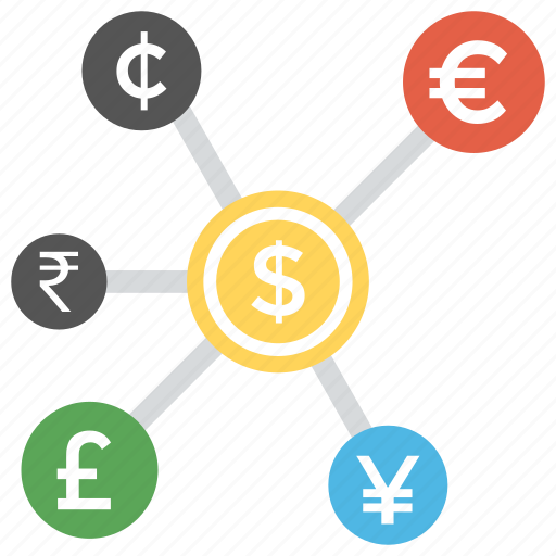 change money, finance concept, foreign exchange, money exchange, money transfer icon