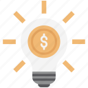 bright future, bulb, business bright, business creativity, dollar creativity, dollar on bulb, strategy icon