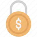 business padlock, business protection, dollar on lock, finance, financial protection, padlock, security icon