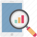 analysis, analytics, bar chart, mobile graph search, search graph, search on mobile, search report icon