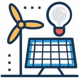 electricity resource, energy resources, power sources, solar energy, wind power icon