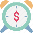 alarm, business alarm, business clock, business deadline, business security, dollar on alarm, time for invest icon