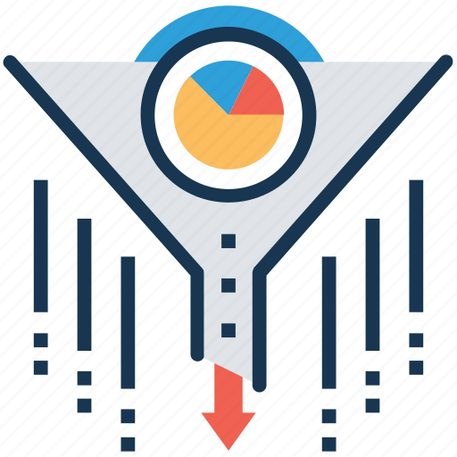 data extraction, data filter, data funnel, data quality, data verification icon