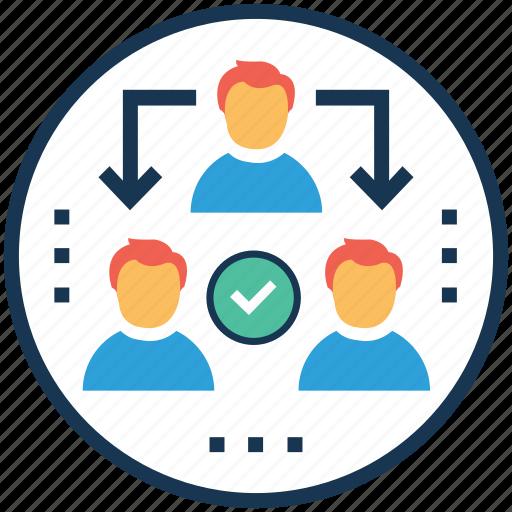 delegation assignment, delegation tasks, management leadership, teamwork, work management icon