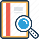 encyclopedia, find book, knowledge, learning, search book icon