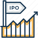 initial public offering, ipo, public offering, stock exchange, stock market icon