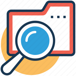 data folder, find data, folder with magnifying, search file, search folder icon