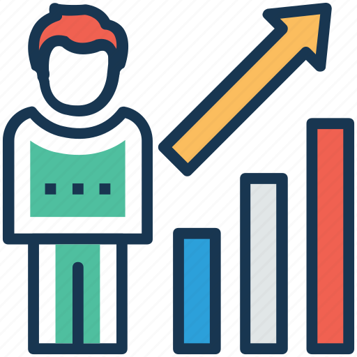 businessman promotions, career growth, career promotion, job improvement, successful promotions icon