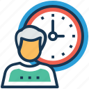 business hours, man with clock, part time, working deadline, working hours icon