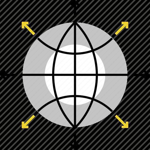 deploy, development, global, growth, international, progress, world icon