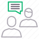 discussion, meeting, speech, users icon