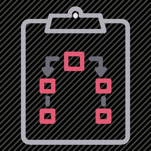 clipboard, flowchart, hierarchy, planning icon
