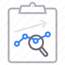analytics, chart, clipboard, project icon