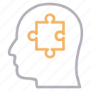 head, mind, puzzle, solution icon