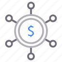 connection, dollar, money, sharing icon