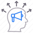 announcement, face, head, mind icon