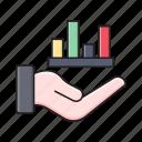 barchart, care, graph, hand, statistics icon