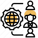 network, outsource, recruit, resources, strategy icon