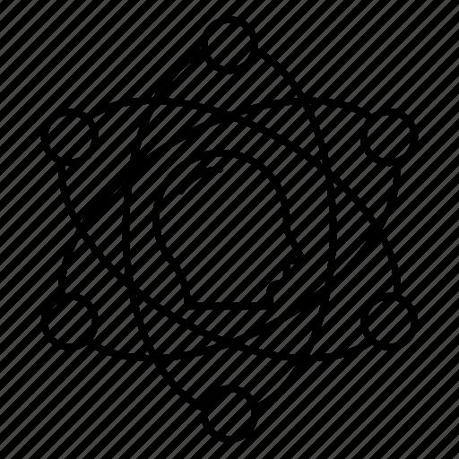 atoms, brain, head, mind, science icon