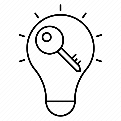 bright, bulb, creative, idea, key icon