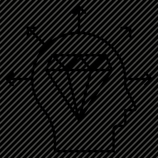 diamond, finance, gem, head, mind icon