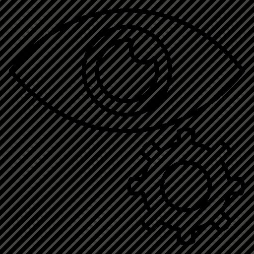 eye, gear, preference, setting, view icon