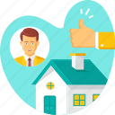 house, visit, real estate, home, property, thumbsup, property & real estate icon
