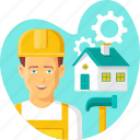 builder, constructor, house, property, realestate, repairing, worker icon