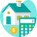 calculator, estimation, home, house, property, property valuation, valuation icon
