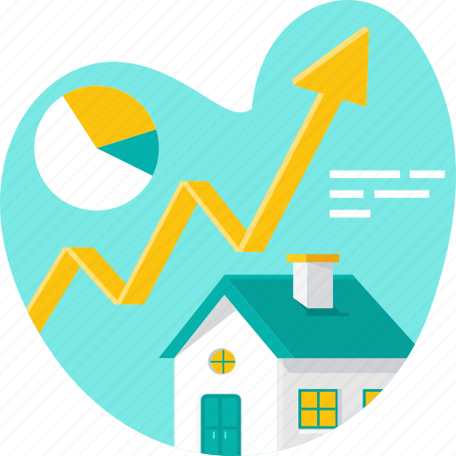 analytics, chart, graph, growth, home, property, real estate icon