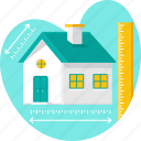 area calculation, building, home, house measurement, measurement, realestate, scale icon