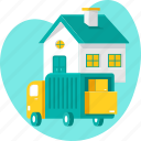 delivery, estate, home, moving, residential, truck, vehicle icon