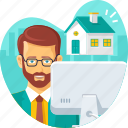 agent, broker, customer, home, online, property, support icon