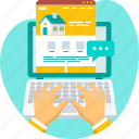 consultant, laptop, online, property, real estate, typing, website icon