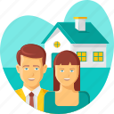 couple, dream, family, home, house, property, real estate icon