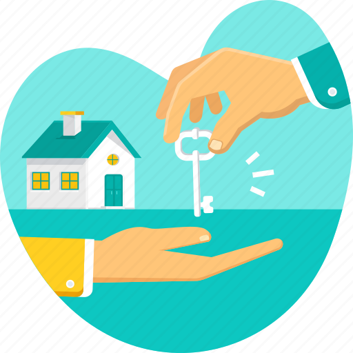 giving, hand, home, house, key, property, real estate icon