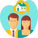 couple, dream, family, happy, home, house, thinking icon
